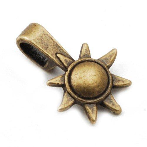 100 stuks 16 * 12mm zon en maan vorm antieke bronzen lijm op nagels hangers