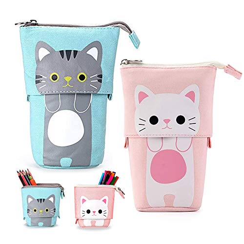 COWORK-UP 2Pcs Cute Cat Pencil Case Pushcases Stand Pencil Holder...