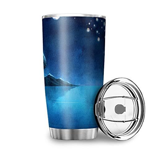 Taza térmica de viaje de acero inoxidable, diseño 3D, 100 % aislado, mantiene caliente y blanco, 600 ml