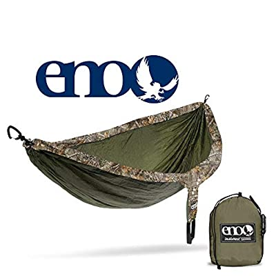 ENO, Eagles Nest Outfitters DoubleNest Camo Lightweight Camping Hammock, 1 to 2 Person, Realtree Edge: Olive