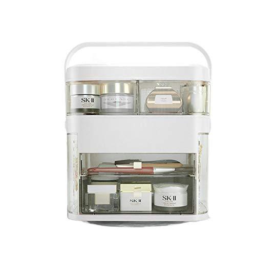 Caja de Almacenamiento de cosmética Multifuncional, Caja de cosmética extraíble portátil, Caja de Almacenamiento de Joyas de Flip-Top, 11.8x11.6x8.3 Pulgadas,White c,11.8x11.6x8.3 in