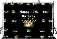 Zhy 40歳の誕生日の背景7X5FTゴールデンクラウンダイヤモンド誕生日パーティー写真の背景YouTube写真の好意スタジオプロップカスタマイズLLST391