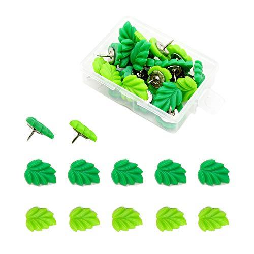 YMDZ 20 Stücke Grün hinterlässt kreative Mode Pushpin Daumen Heftzwecke Dekorative Niedliche Stecknadeln für Wandkarten, Fotos, Pinnwand oder Korktafeln( Nadellänge 10mm )
