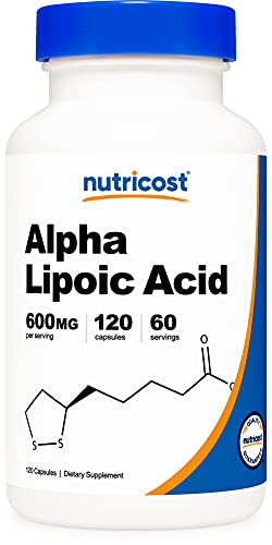 Nutricost Alpha Lipoic Acid 600mg Per Serving 120 Capsules, 60 Servings - Plant Based Caps, Non-GMO