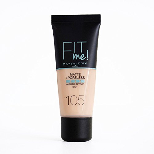 Maybelline New York Make Up, Fit Me! Matte + Poreless Foundation, Mattierend und porenverfeinernd, Alle Hauttypen, Nr. 105 Natural Ivory, 30 ml
