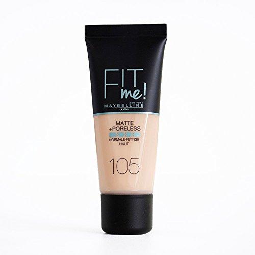 Maybelline Fit me! Matte&Poreless Make-up Nr. 105 Natural Ivory, flüssiges Make-up, passt sich dem Hautton an, feuchtigkeitsspendend, mattierend, leichte bis mittlere Deckkraft, 30 ml