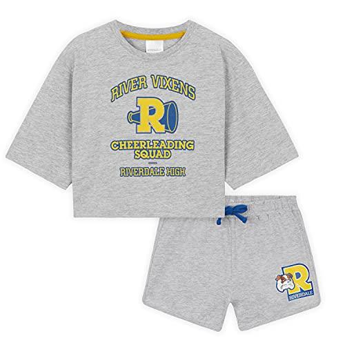 Riverdale Crop Top e Pantaloncini, Abbigliamento Per Bambina e Ragazza 7-15 Anni, Set Sportivo South Side Serpentes e Vixens, Idea Regalo per Ragazze (Grigio, 15 anni)