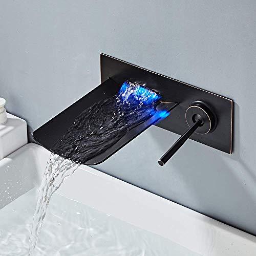YLLN Grifo para Lavabo Empotrado en Color Negro Antiguo con 2 Orificios Grifo para Lavabo en Cascada con LED Grifo Monomando para Lavabo de Pared Grifo para baño con caño de Vidrio Fabricado e