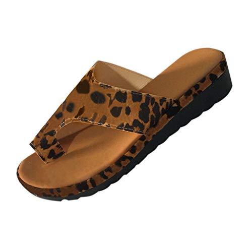 ✿✿Eaylis Damen Sandalen Offener Zehenkeil Mit Leopardenmuster Sommer Strand Schuhe Hausschuhe Stilvoll Und Elegant