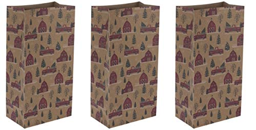 Farmhouse Paper Bags Christmas Bags | 10 inch | Red Truck Red Barn | 24 Pack
