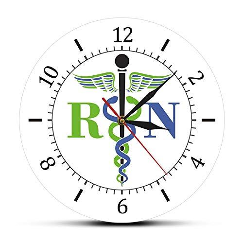 xinxin Reloj de Pared Caduceo Símbolo médico Reloj de Pared Medicina Doctor Insignia médica Reloj Exclusivo Reloj de Pared Enfermera registrada RN Regalos de enfermería