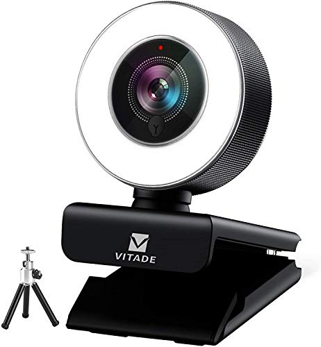 Webcam 1080P con micrófono y anillo de luz -Vitade 960A Pro USB Computer HD Cámara Web, Plug and Play Cámara para portátil Mac Windows Gaming Xbox Skype Twitch Grabación de videollamadas (trípode incluido)