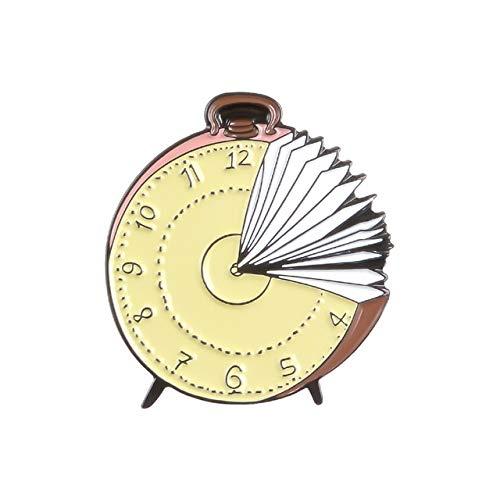 Reading World Pin de esmalte Libro de comida mental Reloj de tiempo Broche Bolsa Ropa Pin de solapa Insignia Diversión Lectura Joyería Regalo Niños Amigos-Style4