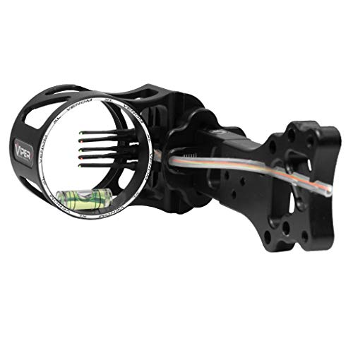 VIPER Archery Venom XL Compound Bow Sight, Made in USA, Durable Machined Aluminum, 5 Ultra-Bright Fiber-Optic Pins, Simple Elevation and 2nd & 3rd Axis Adjustments, 0.015 Pin