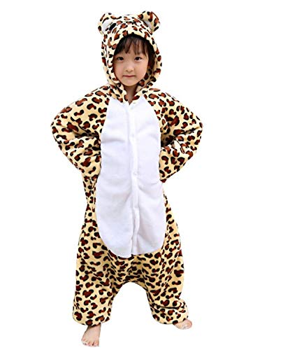 Pijama Kigurumi Disfraz Animal de Niños Unisex para Carnaval, Halloween, Fiesta Cosplay LEOPARDO 6-7 Años