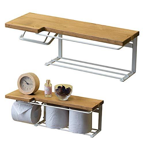 トイレットペーパーホルダー1連完成品木製天然木アイアントイレペーパーホルダー棚おしゃれ収納ストックタイプナチュラル