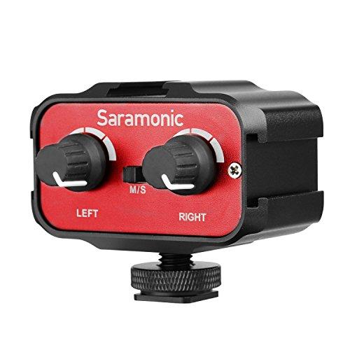 Adaptador de audio DSLR, Saramonic SR- AX100 Micrófono Mezclador de audio Universal de dos canales Amplificador de micrófono Adaptador para grabar video Grabación Accesorios para micrófono
