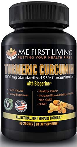 Me First Living Turmeric Curcumin 1000 mg 95% Curcuminoids  Bioperine 10 mg  19x More Potent Than Others  Increased Absorption  Non-GMO  Organic Turmeric  Vegan  Gluten Free  60 Capsules