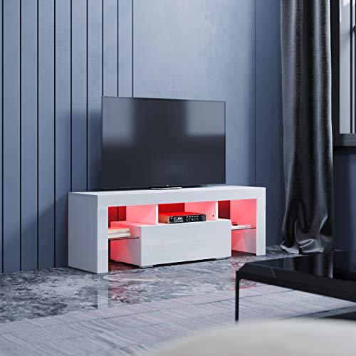 SONNI Mueble TV Blanco Brillo,Mesa para TV de Salón con LED 130x35x45cm