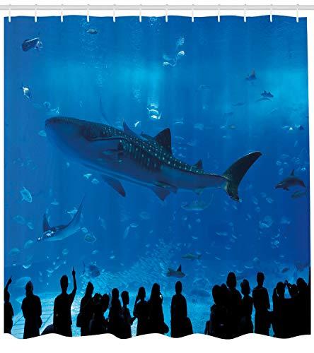 123456789 Shark douchegordijn Aquarium Park en mensen afdrukken voor de badkamer