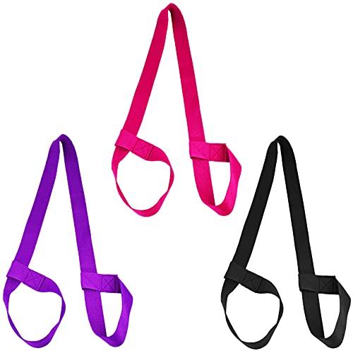 htbakoi Porta Tappetino Yoga Tracolla Cinghia Tappetino Borsa Yoga in Cotone, Cinghia Cintura Yoga per Custodia Tappetino Yoga Regolabile, Confezione da 3, Viola, Nero, Rosa