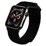 MOFREE Bands Compatible with 44mm Apple Watch Band 42mm Series 5/6/SE, Soft Nylon Woven Loop Sport Strap Wristband Replacement Band Compatible for iWatch Band 44mm/42mm Series /4/ 3/2/ 1 Men Black