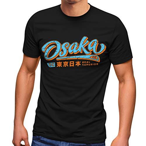 Neverless® Herren T-Shirt japanische Schriftzeichen Japan Schriftzug Osaka Fashion Streetstyle schwarz L