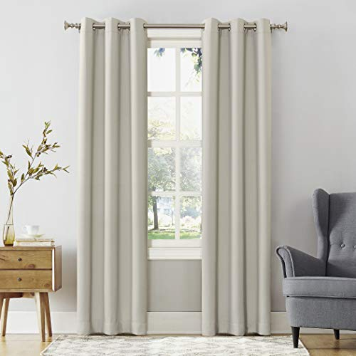 "Sun Zero Easton Energy Saving Blackout Grommet Curtain Panel, 40"" x 120"", Pearl"