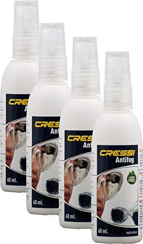 Cressi 60 ml, 4 Unidades Premium-Spray antivaho para máscaras de Buceo y Gafas de natación Unisex para Adultos, Trasparente, 4 Pack