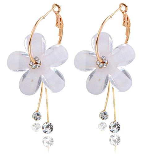 Camellia Flower Earrings for Women Minimalist Asymmetrical Circle Leaverback Long Dangle Earrings (white 2)