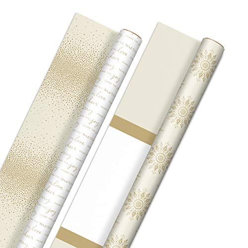 Hallmark Reversible White and Gold Wrapping Paper - Bulk (2 Jumbo Rolls: 160 sq. ft. ttl) 'Share the Joy, Cheer, Merry, Love,' Stripes, Dots, Snowflakes for Christmas Hanukkah, Weddings, Graduations