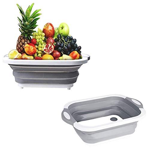Barrageon Plegable Tabla Cortar Multifunción Vegetales Fruta Comida Desagüe Cesta Lavar Platos...
