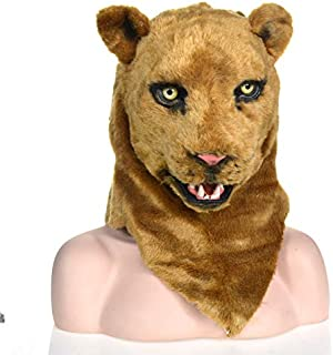 Masks Carnival Holiday Party mask Unique Product Brown Lioness Mobile Mouth Imitation Animal mask Halloween and Party Accessories Furry Animal Masks ( Color : Brown )