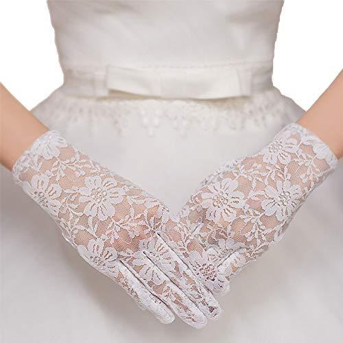 Gants courts de mariée en dentelle classique avec des gants de protection solaire à la crème solaire