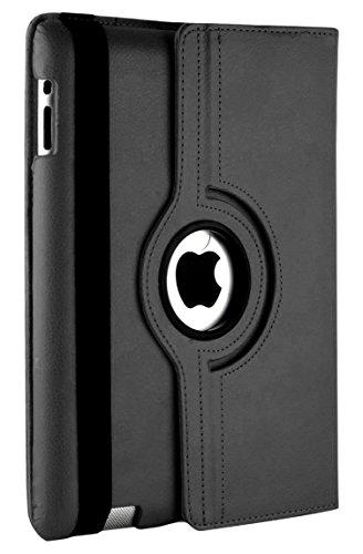 TechDealsUK ipad PU Leather 360 Degree Rotating Stand Swivel Case Folio Cover For Apple iPad 4/ 3/ 2 (Black)