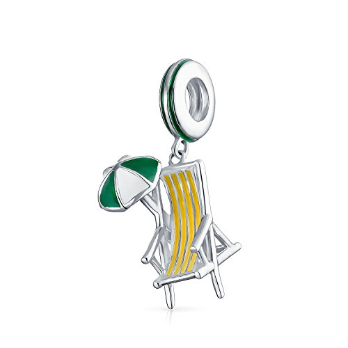 Tropical Vacation Travel Colorful Umbrella Beach Lounge Chair Dangle European Charm Bead For Women Enamel .925 Sterling Silver Fits European Bracelet