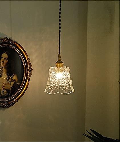 Vintage Flor Chandelier Hand Tallado Impresión China Roman Light Light Japan Retro Colgante Lámpara Colgante Transparente CAJA DE CRISTAL CON CABROS ACCESORIOS PARA LA ZAPACIA DE CAFE ANTHALL