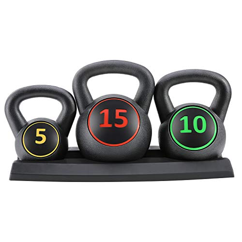 MaxKare Kettlebell Set 3-Piece HDPE 5lb, 10lb, 15lb Weights Kettlebells with Base Rack for Indoor Outdoor Use