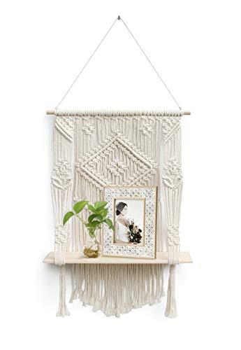 N / A Wandregal Holz Wand Regal Makramee Boho Wandbehang Quaste Handgewebte Schweberegal Wohnzimmer Home Wanddeko