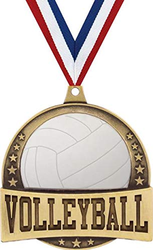 """Crown Awards Gold Volleyball Medals - 2 1/4"""" FX Volleyball Medal with Red, White and Blue Neck Ribbon 5 Pack Prime"""