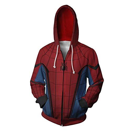 Zhangjianwangluokeji Weit Weg von zu Hause Spider Peter Parker Kostüm Halloween-Spiel Cosplay Zip Up Hoodie Jacke (XL, Stil 4)
