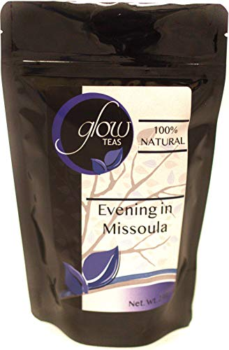 Glow Teas Evening In Missoula 100% Natural Loose Leaf Calming Relaxing Herbal Tea Hot Chamomile Blend With Peppermint, Lavender and Raspberry Leaf