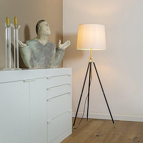 QAZQA Modern Tripod/Dreifuß Lampe/Dreifuss Stehleuchte/Stehlampe/Standleuchte/Lampe/Leuchte schwarz mit cremefarbenem Schirm verstellbar - Scopo/Innenbeleuchtung/Wohnzimmerlampe/Schl