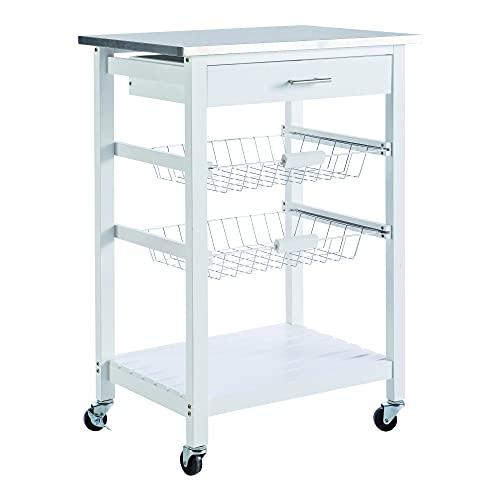 habeig Küchenwagen #72 Teewagen mit Einer Schublade Küchenschrank Rollwagen Edelstahl weiß Rollen