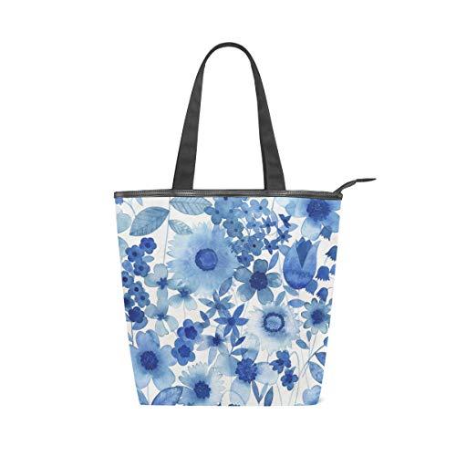 FANTAZIO Damen Handtasche Delft Blue Floral Cavas