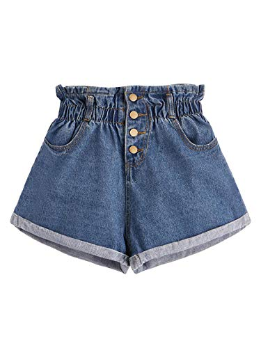 Milumia Women Elastic Waist Rolled Hem Button Denim Shorts Blue Large