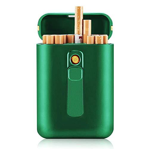 YYFF Caja de Cigarrillos 20 Cigarrillos ordinarios sin Llama a Prueba de Viento Encendedor eléctrico portátil Recargable Caja de Cigarrillos