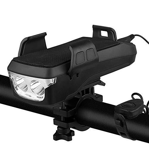 VUENICEE Luce per Bici, Luce Anteriore per Bici Ricaricabile USB,4 in 1Impermeabile Luce per Bicicletta con clacson,Staffa per Telefono,Power Bank,4000mAh. (Nero)