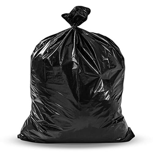 65 Gallon Trash Bags, (50 Case w/Ties) Large Black Heavy Duty Trash Can Liners