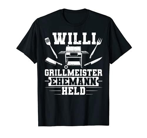 Herren Vatertag Lustig Grillen Willi Ehemann Grillmeister Held T-Shirt